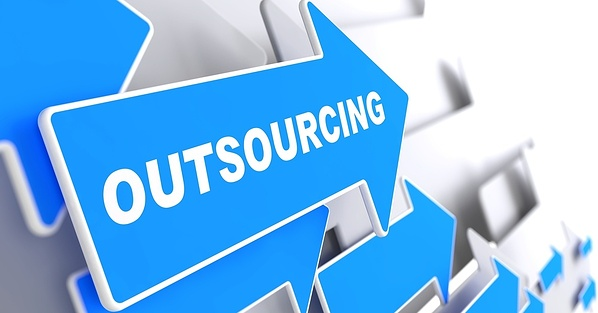 Outsourcing - Business Background. Blue Arrow with _Outsourcing_ Slogan on a Grey Background. 3D Render.